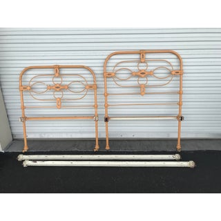 Antique Shabby Chic Iron Bed With Wood Wheels Preview