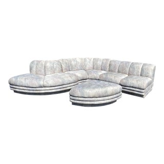 1980s Vladimir Kagan Style Channeled Serpentine Sectional For Sale