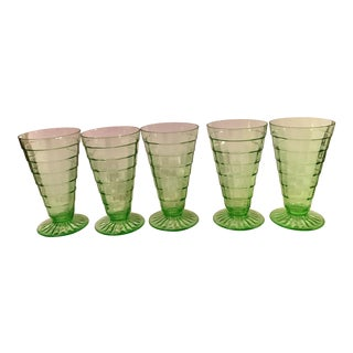 Mid-Century Modern Green Vaseline Uranium Block Optic Footed Glasses - Set of 5