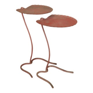 Salterini Wrought Iron Lily Pad Nesting Set 2 Tables (A) For Sale