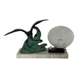1950s Italian Bronze Bird on Marble Base Desk Lamp For Sale