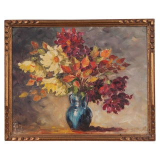 Small Framed French Floral Oil Painting For Sale