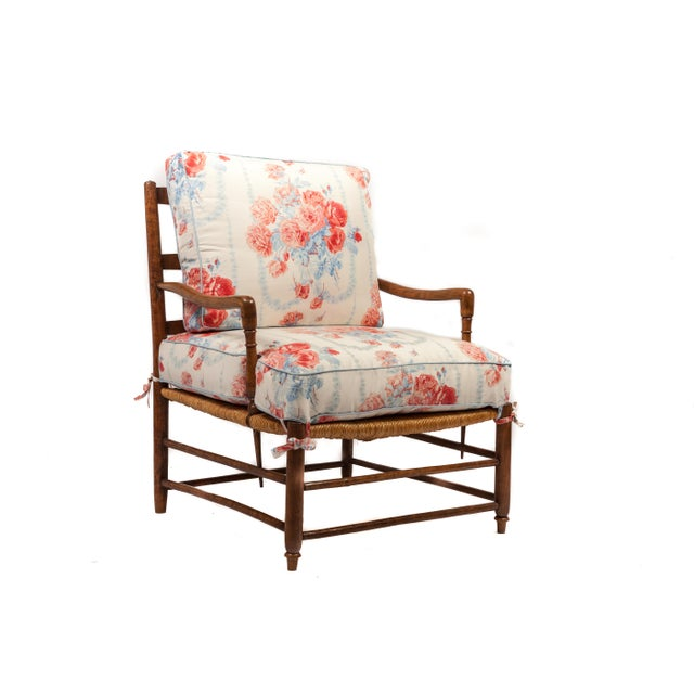 French 18th-Century Country French Rush Seat Bergere and Ottoman For Sale - Image 3 of 6