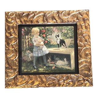 Original Antique Chromo Lithograph Little Girl With Boston Bull Terrier Dog & Rabbits For Sale