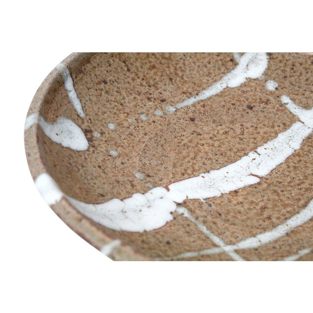 Beige 1960s Abstract Japanese Pottery Charger For Sale - Image 8 of 13