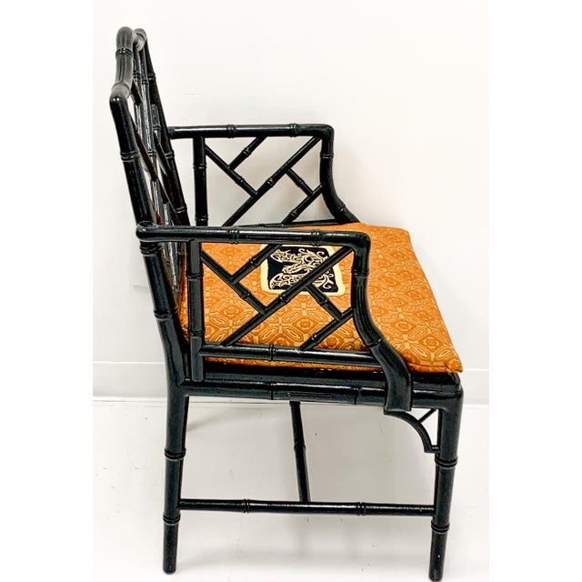 Chinese Chippendale Style Faux Bamboo Arm Chair For Sale - Image 4 of 6