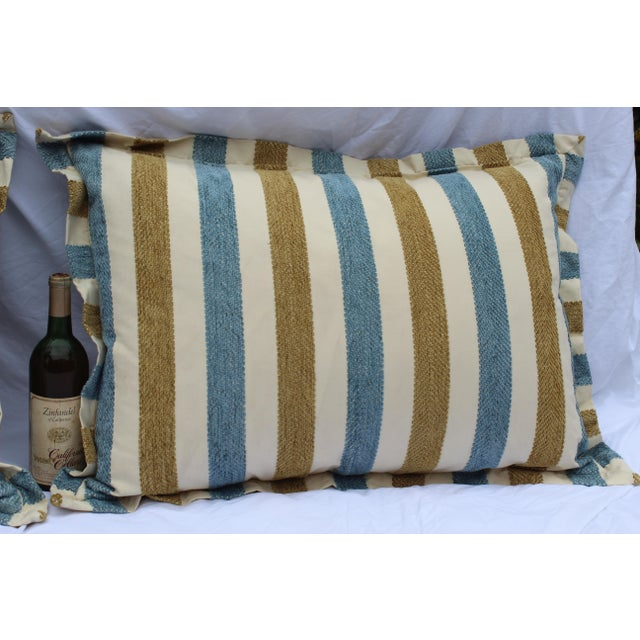 Blue Contemporary Striped Silk DownContemporary Striped Silk Down Pillows - a Pair For Sale - Image 8 of 13