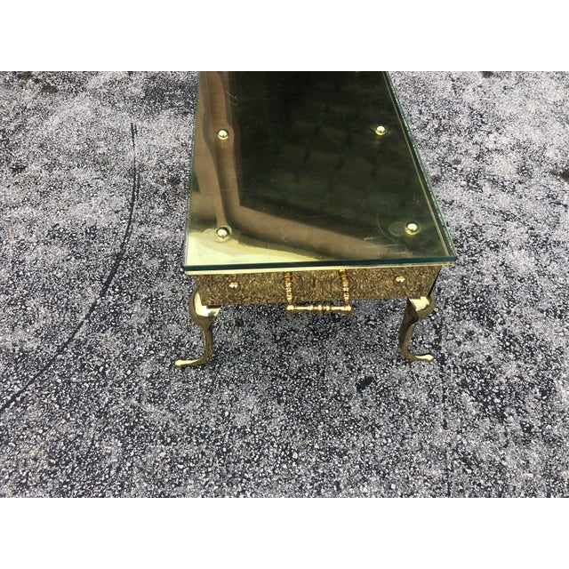 Hollywood Regency Brass and Glass Coffee Table For Sale - Image 4 of 5