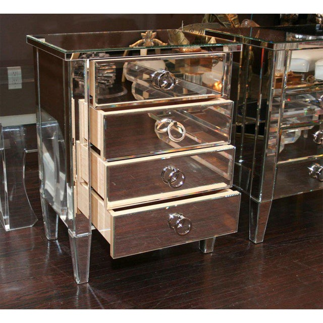 Wood Pair of Custom Mirrored End Tables For Sale - Image 7 of 9