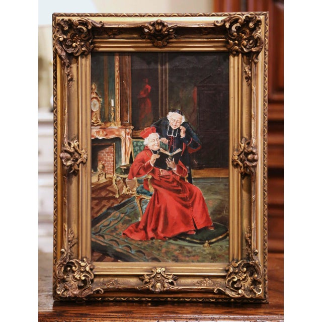 19th Century French Priest Oil Painting in Carved Giltwood Frame Signed M. Valle For Sale - Image 9 of 9