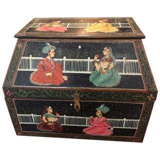Magical Antique Indian Large Odd Shaped Hand-Painted Treasure Box For Sale