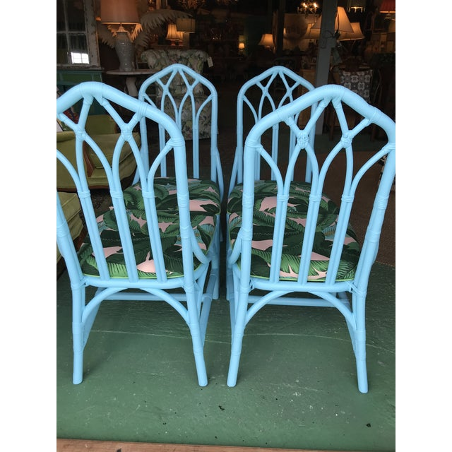 Traditional Coastal Regency Lexington Cathedral Turquoise Palm Leaf Upholstered Chairs-Four For Sale - Image 3 of 12