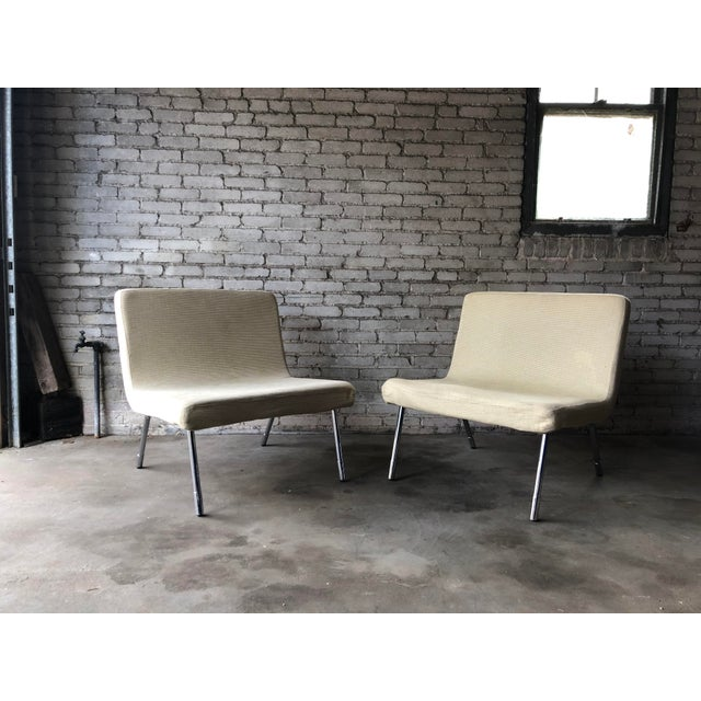 Cream 1990s Roche Bobois Chrome Lounge Chairs - a Pair For Sale - Image 8 of 13