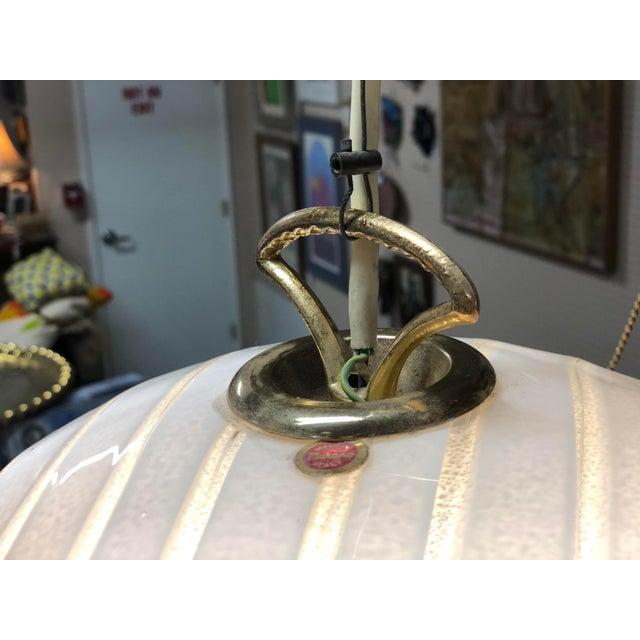 Vetri Venmo Murano Art Glass Swirl White Pendant Lamp. Great original condition.