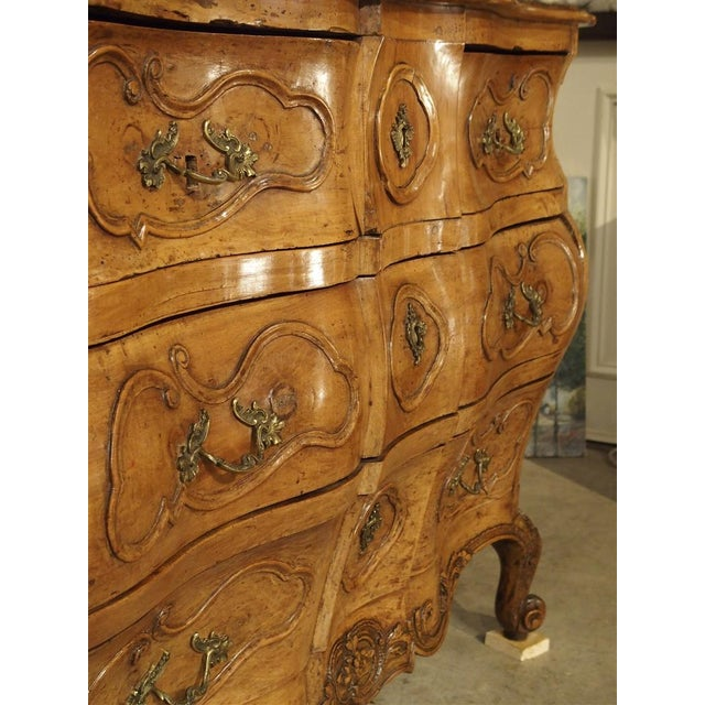 "French Rare Period Louis XV Pearwood Commode ""En Tombeau"" Circa 1750 For Sale - Image 3 of 11"