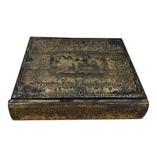 19th Century Chinoiserie Black Lacquer Box in the Form of a Book For Sale