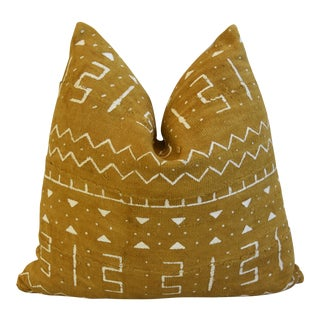 "Gold & Cream Malian Mud Cloth Tribal Feather/Down Pillow 22"" Square For Sale"