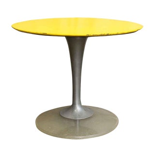 Yellow & Brushed Chrome Cafe or Ice Cream Parlor Table
