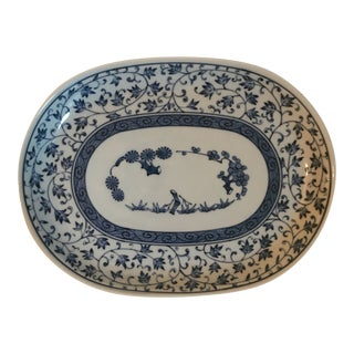 Blue and White Chinese Porcelain Oval Dish For Sale