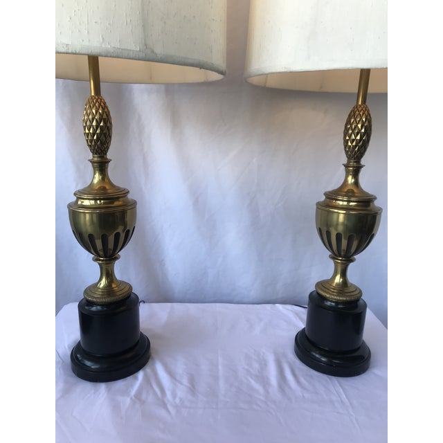 1950s 1950s Brass With Center Pineapple Lamps - a Pair For Sale - Image 5 of 6