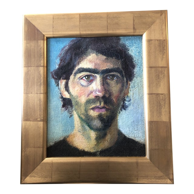 Contemporary Original Portrait Painting Young Man Gold Leaf Frame For Sale