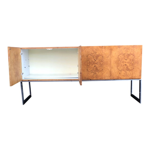 Mid-Century Modern 1970s Mid-Century Modern Milo Baughman for Thayer Coggin Burl Credenza on Chrome Base For Sale - Image 3 of 10