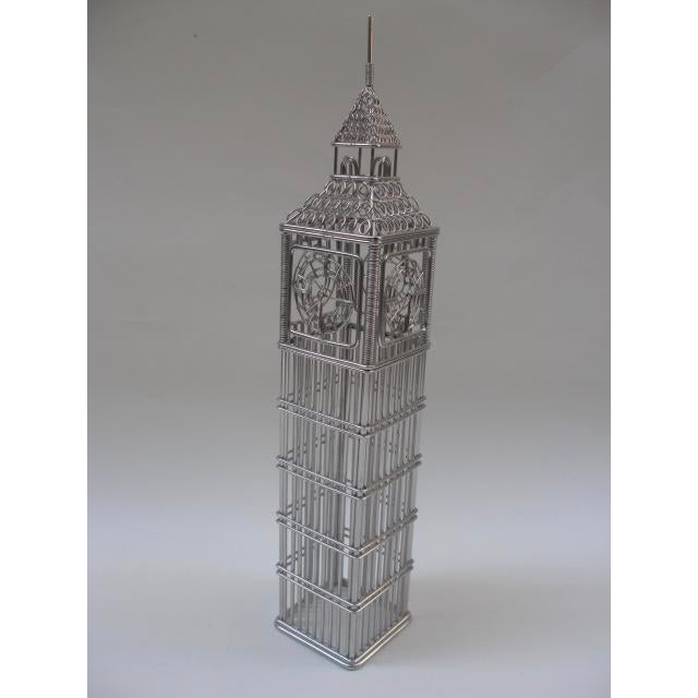 Industrial Wire Big Ben Clock Tower Model For Sale - Image 3 of 5