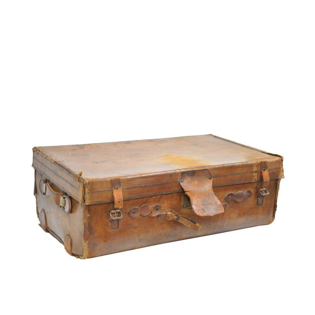 Antique 11.5 X 33 X 20 Large Brown English Leather Hard Luggage Suitcase Trunk For Sale - Image 10 of 10