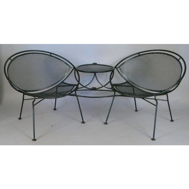 Metal Salterini Radar Tête-à-Tête Settee Lounge, Circa 1950 For Sale - Image 7 of 7