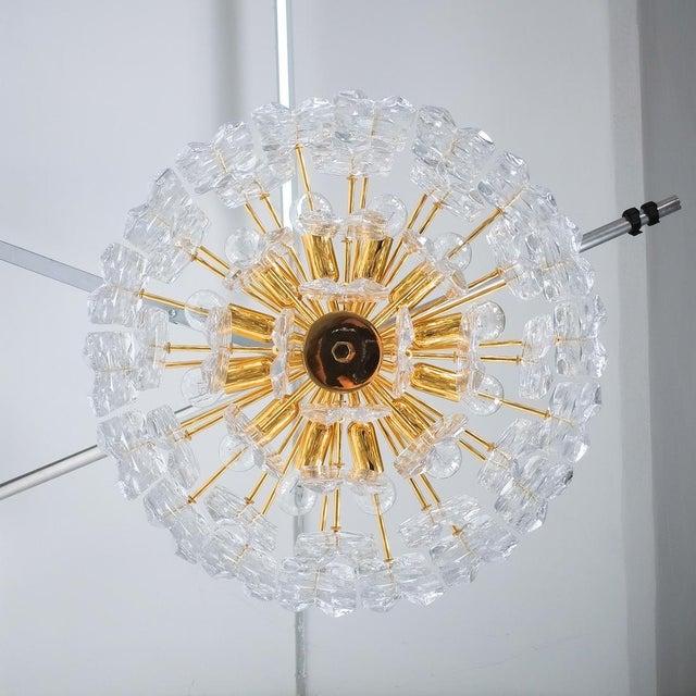 Gold j.t. Kalmar Palazzo Chandelier Gold Brass Glass Lamp, Austria 1960 For Sale - Image 8 of 12
