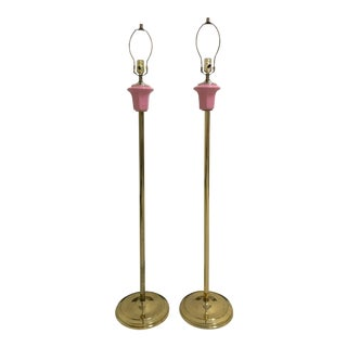 1940's Brass and Pink Porcelain Floor Lamps - a Pair For Sale