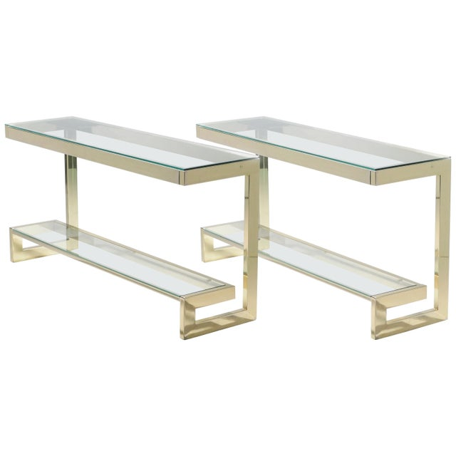 Guy Lefevre Pair of Large Brass Console Tables for Maison Jansen, 1970s For Sale - Image 11 of 11