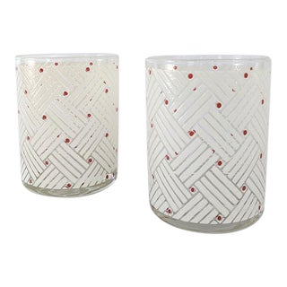 Vintage Cora White and Red Low Ball Drinking Glasses - a Pair