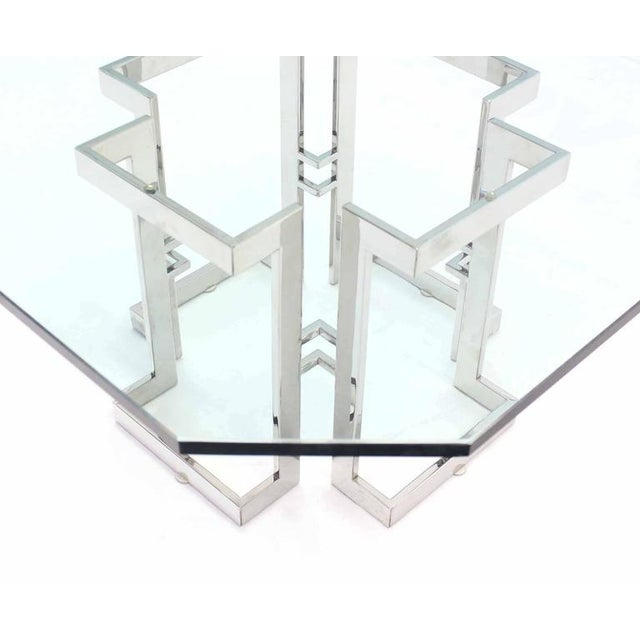 Square Chrome Base Glass Top Coffee Table For Sale - Image 4 of 6