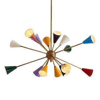 16-light Italian Stilnovo-style Sputnik Chandelier Circa 1960s