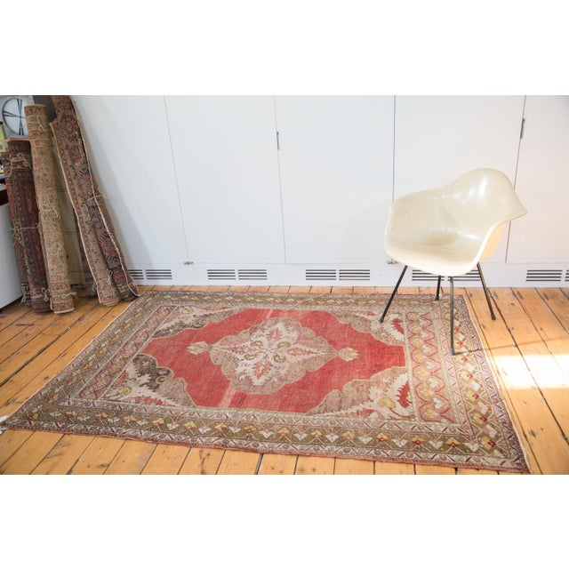 "Vintage Distressed Oushak Rug - 4'8"" X 6'10"" - Image 3 of 8"