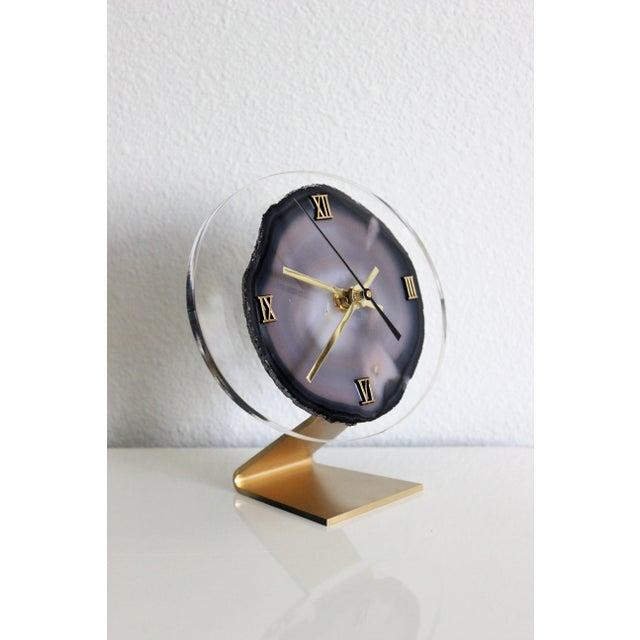 Modern Gray Agate Desk Clock - Image 2 of 8