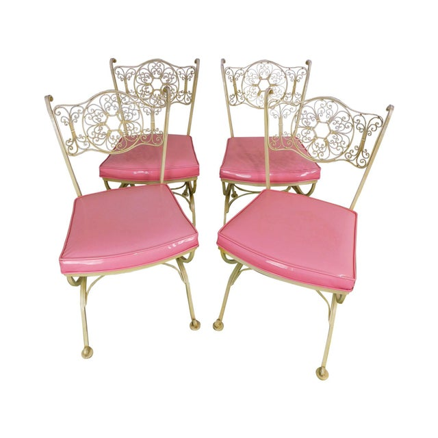 Vintage Set of 4 Woodard Andalusian Wrought Iron Scroll Back Chairs For Sale - Image 12 of 12
