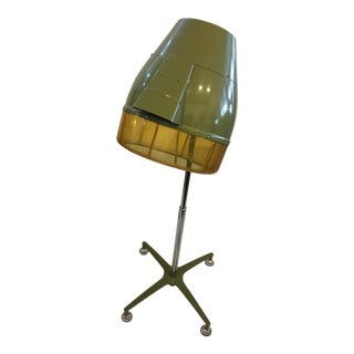 Vintage Mid-Century Montgomery Ward Olive Green Salon Hair Dryer For Sale
