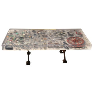 """Hardware Industrial Revolution"" Metal Instruments & Resin Coffee Table For Sale"