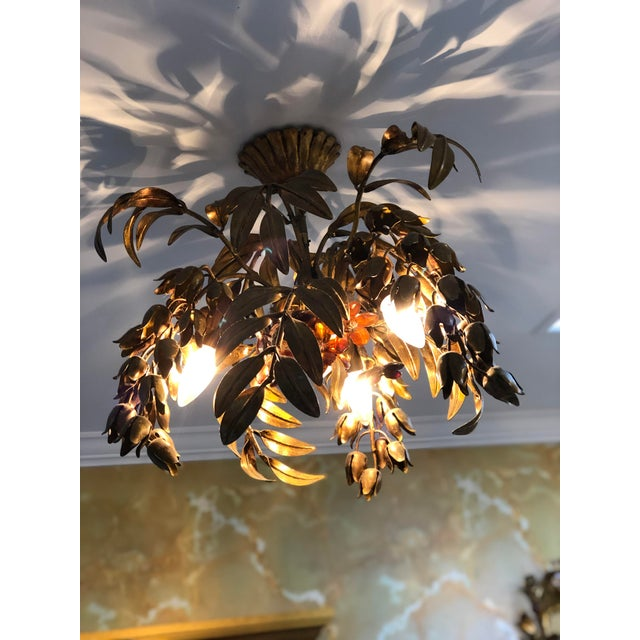 Maison Bagues Style 3 Light Flush Mount Gilded Wrought Iron and Crystal Chandelier For Sale - Image 9 of 10