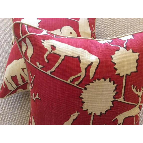 2010s Jungle Walk in Cardinal Pillow Covers - a Pair For Sale - Image 5 of 5