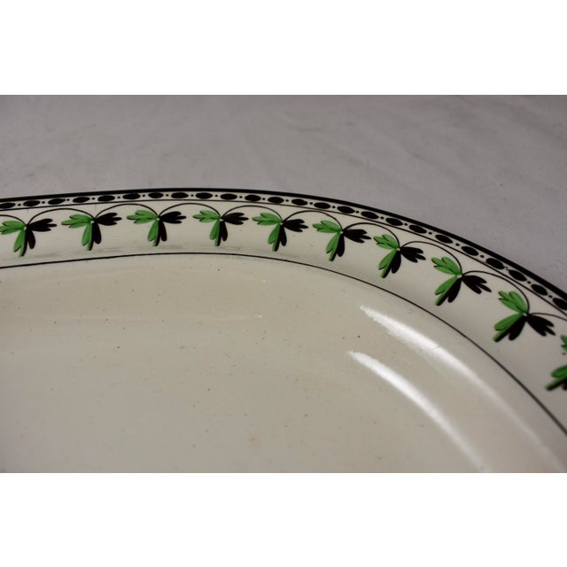 """Late 18th Century Josiah Spode 21"""" Creamware Hand Painted Fern & Dot Platter, 1785 For Sale - Image 5 of 13"""
