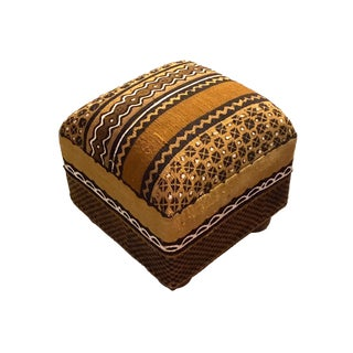 "African Custom Made Malian Mud Cloth Square Ottoman 14"" H For Sale"