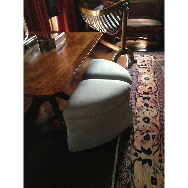 Upholstered Crescent Shape Ottomans on Casters - A Pair For Sale - Image 4 of 7