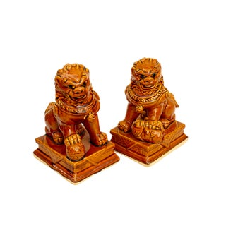 Character Marked Porcelain Foo Dogs | Pair of Vintage Guardian Shishi Lion Figurines |Amber Glazed Pottery Art Protection Statues For Sale