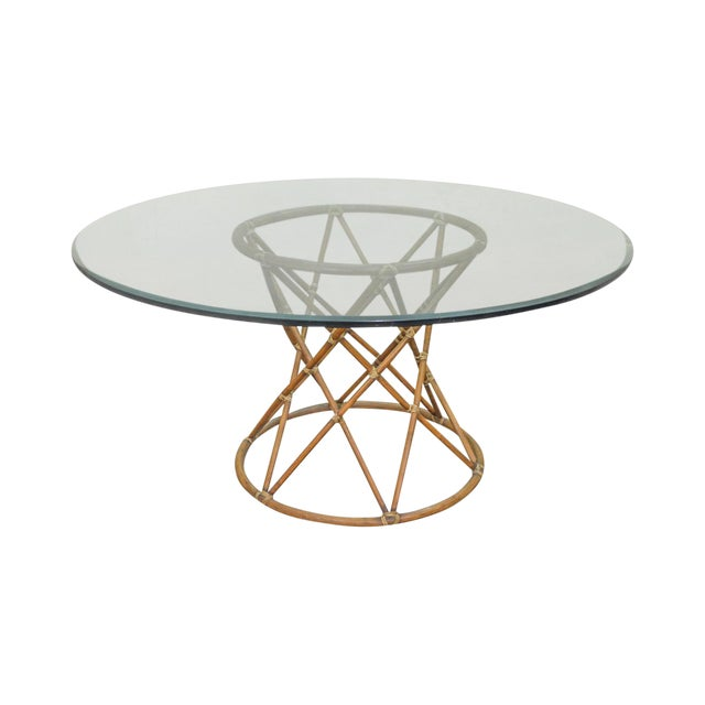 """McGuire of San Francisco 60"""" Round Glass Top Rattan Bamboo Base Dining Table For Sale"""