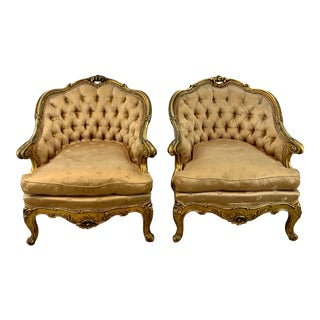 Antique French Tufted Gold Gilt Lounge Chair Pair For Sale