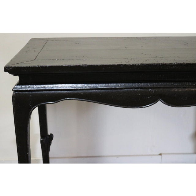 Chinese Black Crakel Lacquered Elm Table For Sale - Image 4 of 7