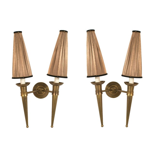 Art Deco French 1940s Brass Two Torch Form Arm Wall Sconces - a Pair For Sale - Image 3 of 3